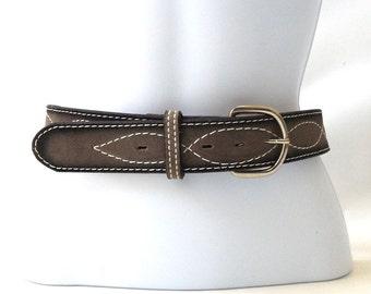 vintage 1970's NOS grey leather belt white stitching black gray size 36 mens womens nocona texas usa fashion clothing western rustic retro