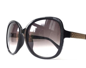 vintage 1990's NOS oversized sunglasses black round plastic frames fashion accessories eyewear women sun glasses retro gold metal cut out