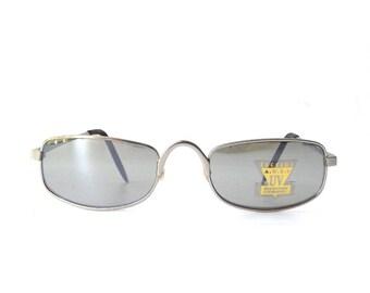 vintage 1990's NOS square silver metal sunglasses mirror lenses men women fashion accessories sun glasses retro gunmetal grey gray metallic