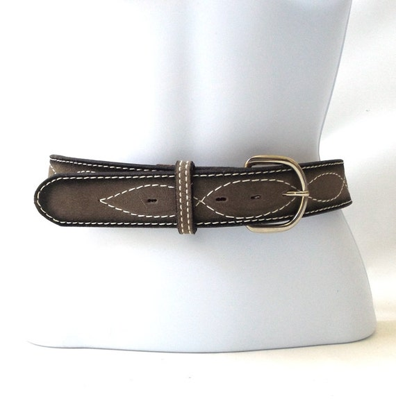 vintage 1970 s nos grey leather belt white by