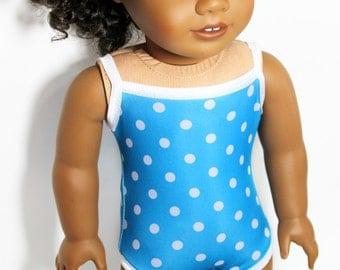 "Big Blue Sea Polka Dot Swimsuit for 18"" Dolls Such as American Girl"