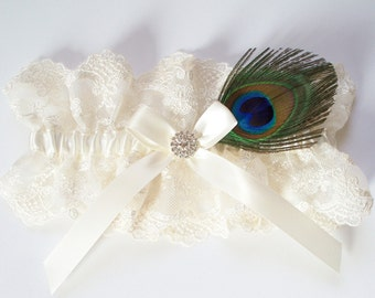Wedding Garter and LACE TOSS in Ivory Lace, Satin Ribbon Bow Topped by Crystal - The JASMINE Garter