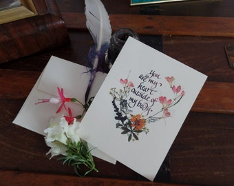 I Love You, Husband card to Wife, Wife Gift to Husband, Valentine, Victorian Calligraphy, Pressed Flower Art, blank note card