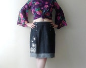Sale 2016 Handmade Womens Top,70s style Floral Kimono Bell Sleeve Blouse Floral Print, Upcycled Denim Midi Skirt