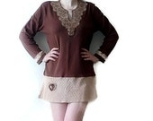 Bohemian upcycled recycled repurposed clothing Plus Size Dress/Tunic/Layering Top
