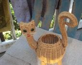 Sweet Vintage Woven Rattan Figural Folk Art Basket Cat Planter
