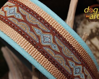 BIG-dog by dogs-art LAVA Martingale Leather Collar - light blue/sand/lava blue-brown
