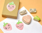 Lemon hand carved rubber stamps set of 3