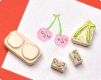 Cherries hand carved rubber stamps set of 4