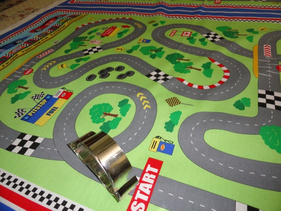 Race Car Fabric Panel Cheater Quilt Sewing Little Boys