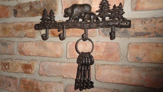 Cabin in the woods coat rack key holder rustic decor log for Cabin in the woods wall mural