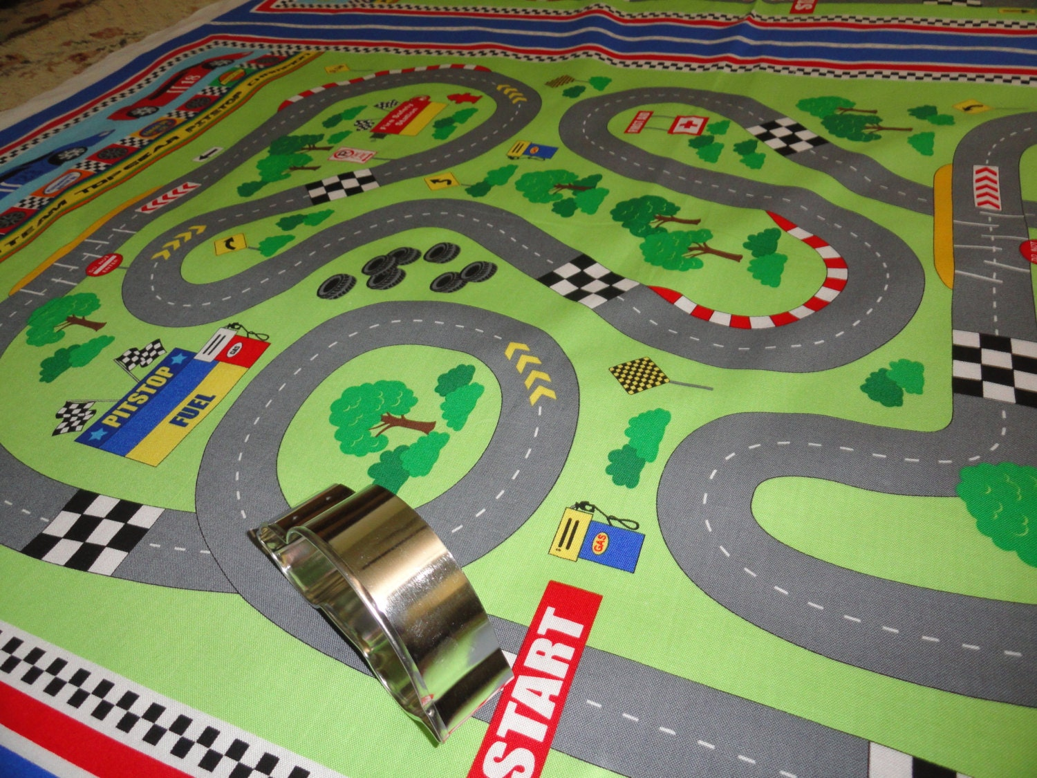 Race car fabric panel cheater quilt sewing little boys for Little blue truck fabric