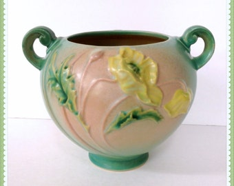 Roseville Pottery Bowl, Handled Vase, 6 inches Tall, 1938, No. 335-6,  Yellow Poppy Flower, Pink, Green, Blue, Weighs 2.50 Lbs.