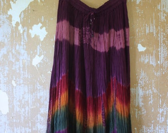 vintage. Indian Gauze Rayon Mid Full Skirt / Eggplant Purple India / One Size fits All