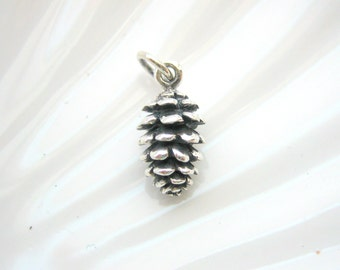 Sterling Silver Pinecone Charm - Add On - Pine Cone