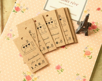 Handmade Sewing Machine pre-printed Zakka Kraft Tags