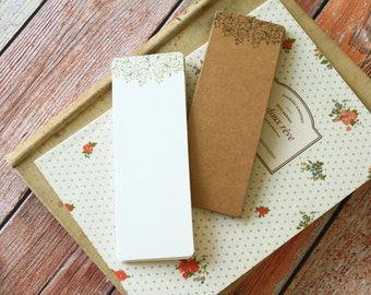 COFFEE X Floral decorated diy kraft & ivory Bookmark blanks