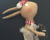 Winter Bunny, a Primitive Folk Art.