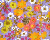 Reserved for MaeDownsAndCo Vintage 60's Concord Fabrics Lavender, Orange & Yellow Floral Print Linen Weave Fabric 1 yard +
