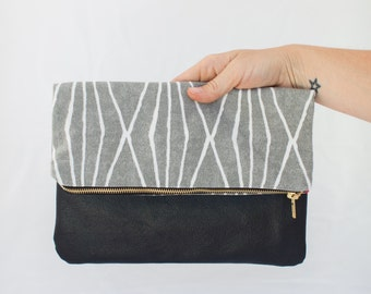 Gray and White Foldover Lined Clutch
