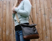 Black and Brown Leather Crossbody Bag Upcycled Materials