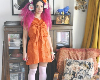 Orange lines with Large Bow sleeveless day dress o.o.a.k handmade original unique bold size M-L UK 12-14
