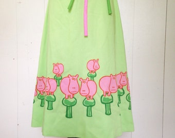 Vintage vested gentress Hippo Dress Lime Green Pink mushrooms size 10