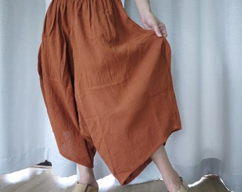 PLUS SIZE Comfy Pants - Unisex Burnt Orange Cotton Capri Pants With 2 pockets Size12 To 26WE - SM673