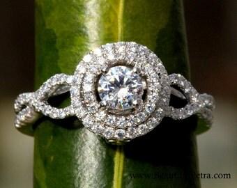 Diamond Engagement Ring -14K white gold -  chunky - 1.10 carat Round - Double Halo - Pave - Antique Style - Weddings- Luxury- Brides - bph07