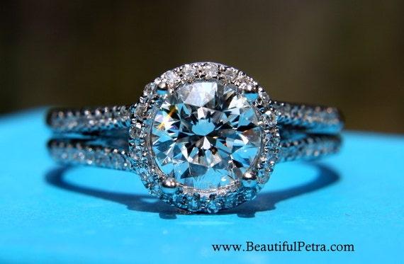 HALO Split shank Round Diamond Engagement Ring - 1.10 carats - 14K White Gold - Antique Style - Pave - weddings - brides - Bp003
