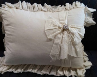 Pillow Slip Cover Pillow Sham  Muslin Pillow Sham PILLOW CASE w/ Bow and bling design