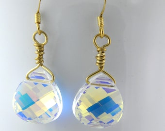 Large Crystal Earrings, Gold Dangle Earrings with Swarovski Crystals