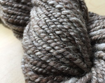 Handspun BFL Yarn - Humbug Bluefaced Leicester, Natural Undyed Yarn, British Wool Yarn, 2 ply Handspun Yarn UK