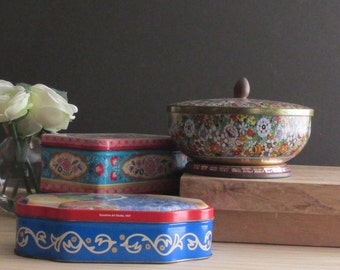 boxes - tin - vintage - Partridge Flowers - a collection of 3 tins