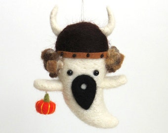 Halloween ghost decor : needle felted viking ghost ornament with curly hair and an orange pumpkin