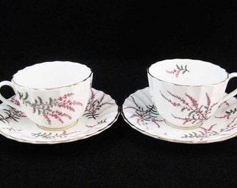 Royal Worcester DUNROBIN Tea Cups & Saucers (2 Sets)