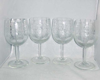 Vintage Etched Wine Champagne Water Goblets Glasses (4 pcs)