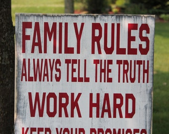 Family Rules sign Custom to your home Vintage Style Primitive and aged Typography Word Art Sign