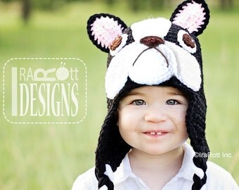 PATTERN Oscar The French Bulldog Hat Crochet PDF Pattern