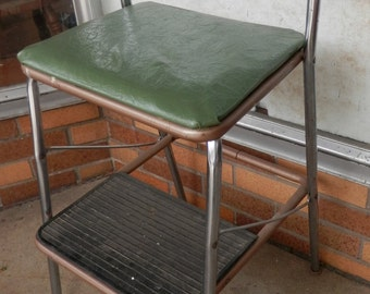 Cosco vintage MCM folding kitchen step stool green