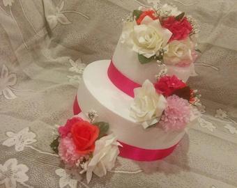 Silk Flower cake topper, wedding cake decorations, floral wedding cake topper