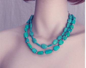 Turquoise Necklace - Genuine Beaded Necklace - Chunky Turquoise Set of two Necklaces - Beadead Double Necklace Set - Healing Necklace