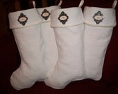 TEN DOLLARS EACH  Three (3 ) Amazing White Quilted Personalized Christmas Stockings 2015 Collection