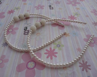 5pcs 1.2mm 38cm length metal headband wrapped by 5.0mm ivory pearl