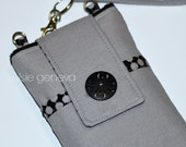 Grey and Black Personalized Japanese Cotton Linen Blend Phone Case with Wristlet Yellow Floral Dots Swirls iPhone 4 5 6 Plus Note