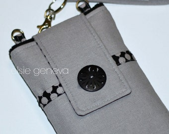 Linen Phone Cask Grey Black Personalized Japanese Cotton Blend Wristlet Yellow Floral Dots Swirls iPhone 4 5 6 Plus Shoulder Strap Option
