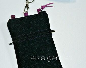 Solid Black Swirls or Batik Dots Fuchsia Magenta Purple Phone Case Wristlet Optional Shoulder Strap Zipper iPhone 5 6 Plus Samsung Note