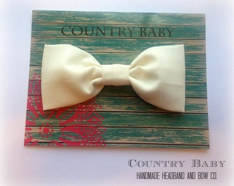 Ivory fabric hair bow ...Toddler Bow...Girls fabric hair bow