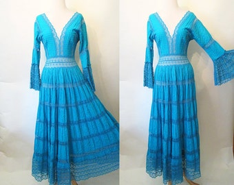 CLEARANCE Luscious 1960's Mexican Cotton and Lace Wedding Dress in Deep Turquoise Boho Chic Summer Party Wedding Dress Pinup Size-Small