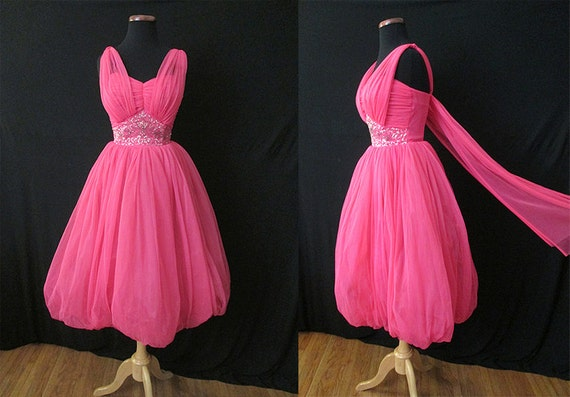 """CLEARANCE Stunning 1950's """"French Pink"""" Chiffon Cocktail Party  Dress with Sequins and Beads Rockabilly VLV Wedding Pinup Girl Size-Small"""